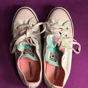 Converse Shoes - Converse all-star low tops mint green floral print